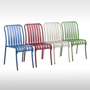 Color Design Home Dining Outdoor Cafe Bistro Bar Restaurant Patio Garden furniture Without Armrests Aluminum Metal Chair