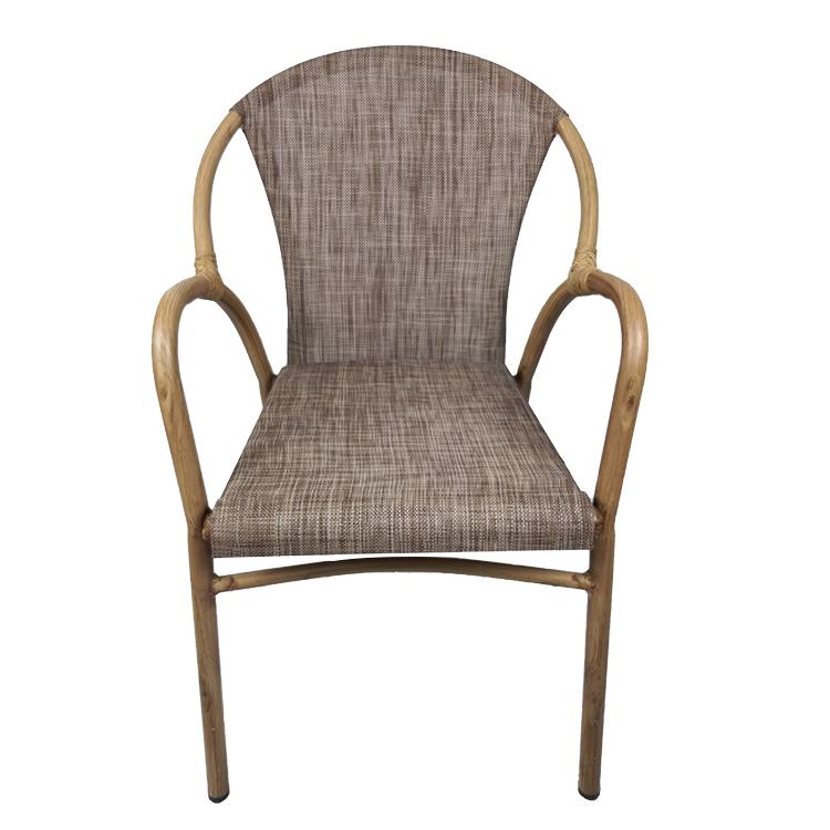 Modern Relaxing Aluminum Metal Outdoor Bistro Arm Chair