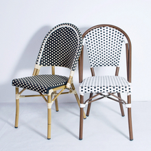 New Design Modern Brand Metal French Garden Patio Outdoor Bistro Dining Aluminum Bamboo Rattan Wicker Chairs Sets