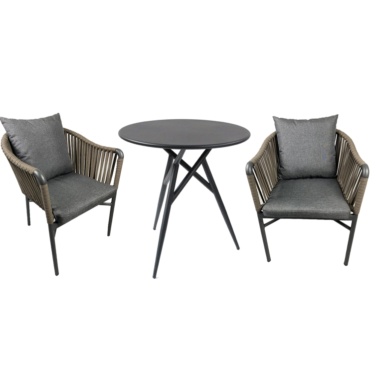 Outdoor Woven Braided Cafe Furniture Table And Rope Chair Set