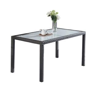 Outdoor garden Cheap Metal Plastic Wicker Long Table