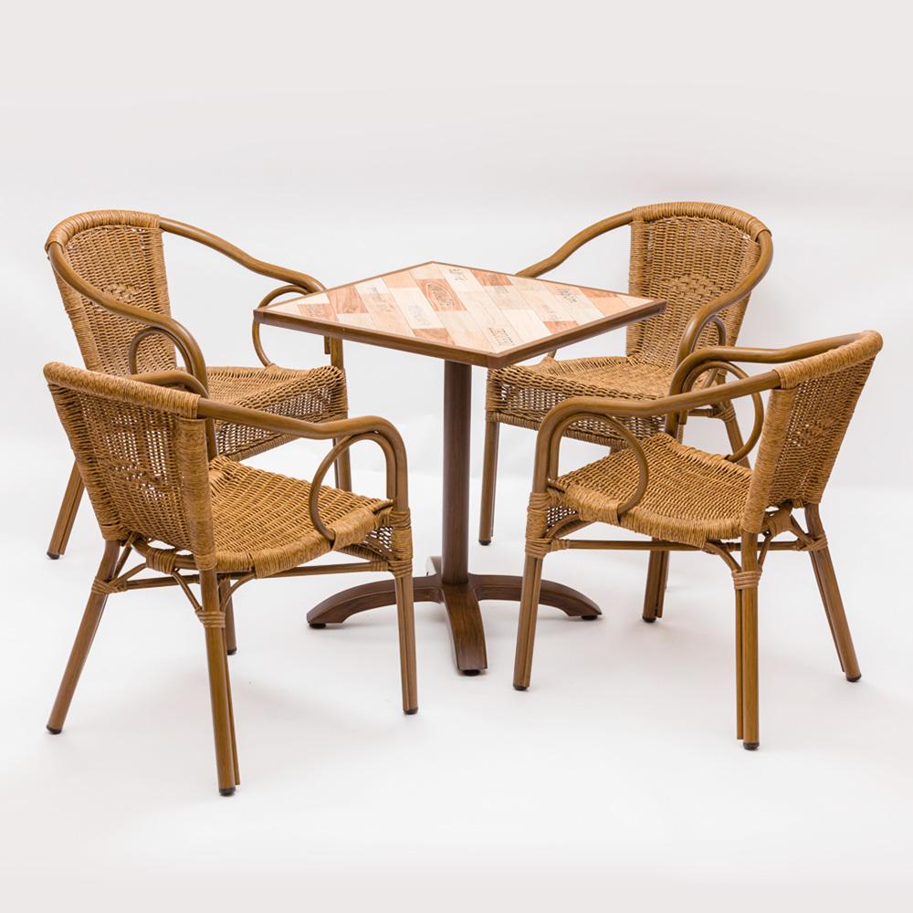 Bistro Garden Metal Bamboo Rattan Furniture Chair For Sale