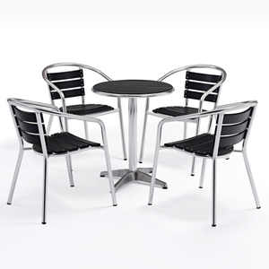Outdoor Aluminum Plastic Wooden Garden Table And Chairs Furniture