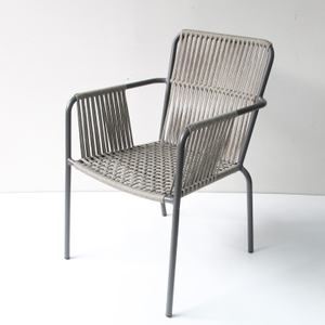 Outdoor Patio Dining Nylon Metal Woven Rope Chair
