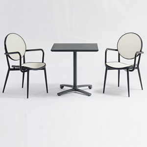 Garden Coffee Shop Restaurant Square Table And Textilene Chair Set