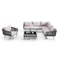 Cheap Garden L Shaped Rattan Outdoor Sectional Couch Set