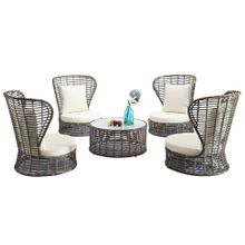 Cheap Outdoor Round High Back Grey Rattan Sofa Set Sale